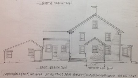 Cat's drawing of the new extension, center of the main house, with porch to the left