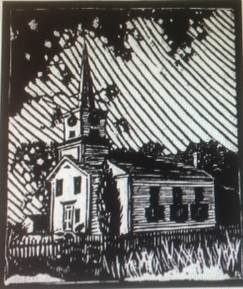 West Tisbury Congregational Church linoleum block print by Sidney N. Riggs