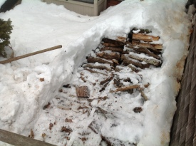 The diminishing woodpile Howie stacked on the west step