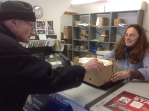 Howie picks up the keets from the West Tisbury Post Office