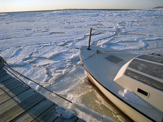 Still iced in, with the mainland in the far distance     photo by Elizabeth Whelan
