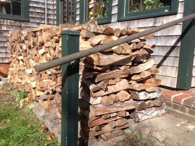 Firewood stacked on the west step for the coming winter